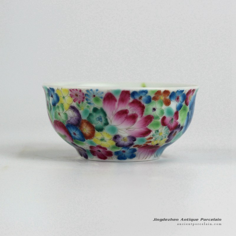 RYIC33_Fancy famille rose hand paint floral tea cups