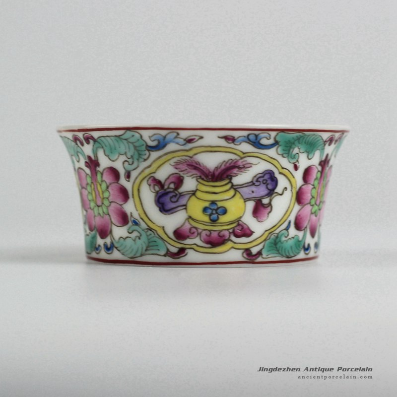 RYIC34_Fancy famille rose hand paint floral tea cups