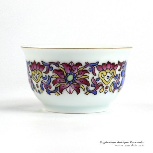 RYIC35_Fancy famille rose hand paint floral tea cups