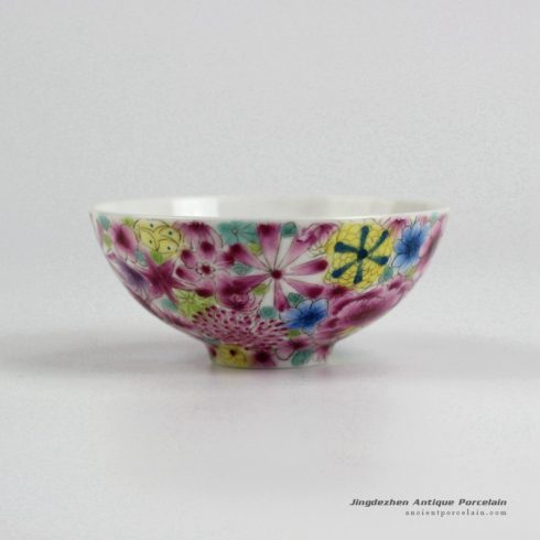 RYIC36_Fancy famille rose hand paint floral tea cups