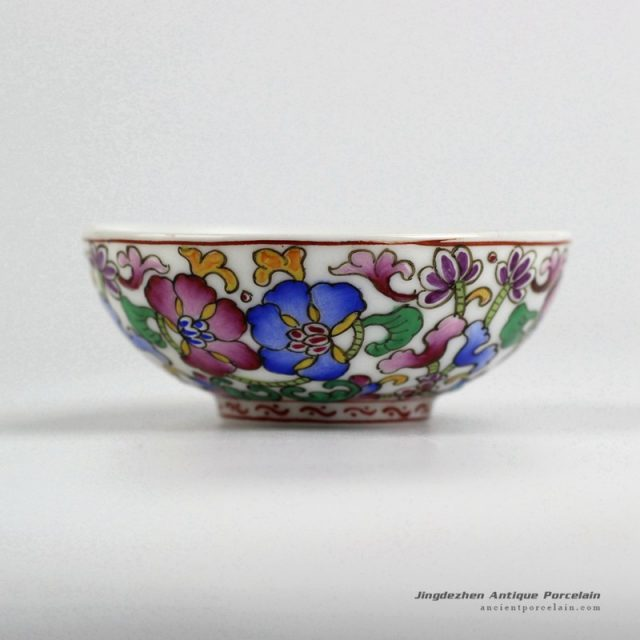 RYIC37_Fancy famille rose hand paint floral tea cups