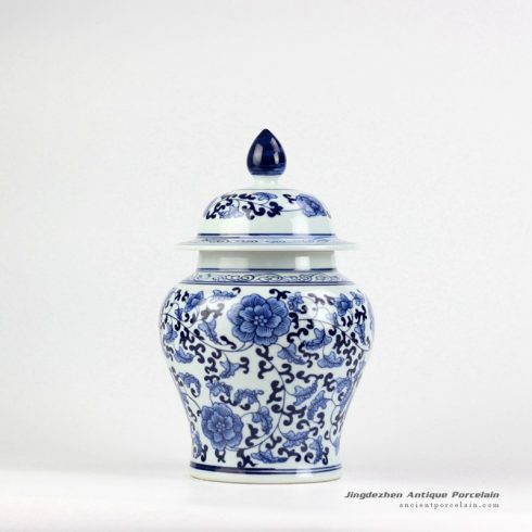 RYIG31_China traditional style blue and white interlock flower branch pattern medium ceramic candle ginger jar