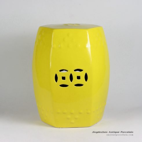 RYIR109-A_17inch Yellow 6 sided Ceramic Garden Stool