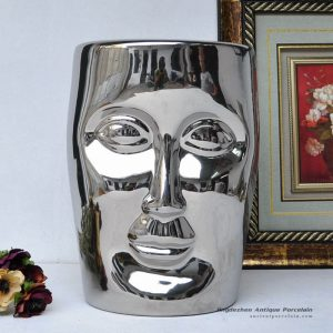 RYIR112-E_Human face shaped ceramic patio stool