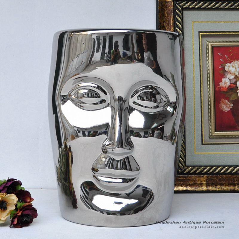RYIR112 E_Human Face Shaped Ceramic Patio Stool