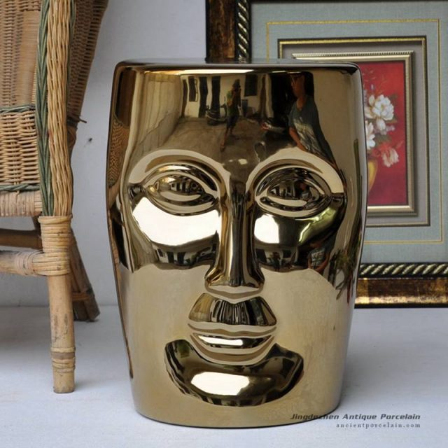RYIR112-F_Human face shaped ceramic patio stool