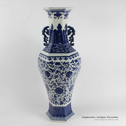RYJF16_blue and white flora pattern ceramic vase