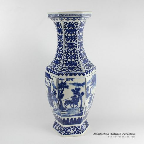 RYJF17_Blue white human pattern home decor vase