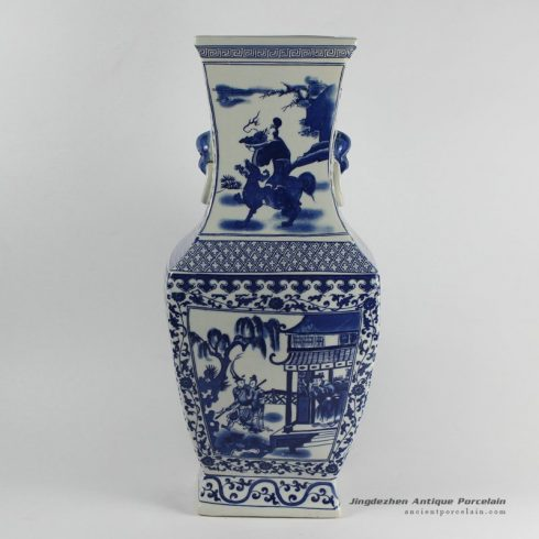 RYJF18_Blue and white hand painted ceramic vase
