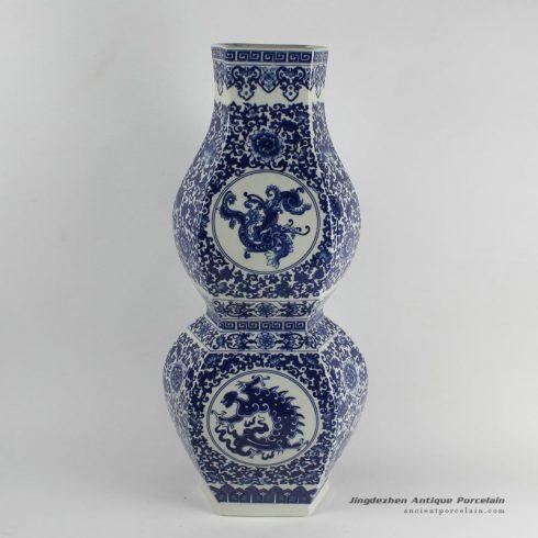 RYJF19_bule white calabash shape ceramic vases