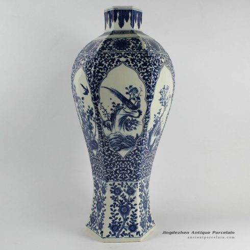 RYJF25_Chinese Blue White Vases bird and flower pattern