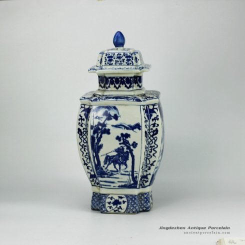 RYJF31-OLD_Blue and white vintage cermaic Chinese jar