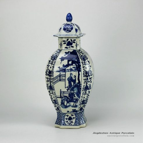 RYJF38-OLD_Blue and white vintage Chinese porcelain jar