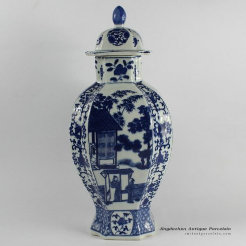 RYJF38_Blue White chinese export porcelain Vase