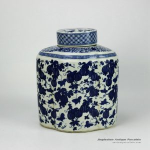 RYJF52-OLD_Reproduction home decoration blue and white ceramic jar with flat lid