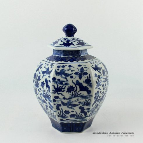 RYJF56_H9.5″ Blue and White 6 sided crane design Porcelain Jar