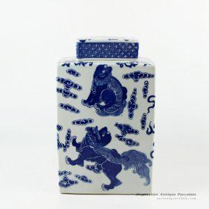 RYJF57_H10″ Square lion design Blue and White Ceramic Jar