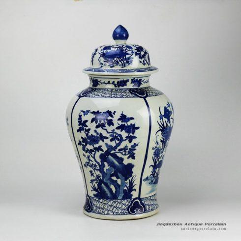 RYJF59-OLD_20.5inch Blue flower bird Porcelain Temple Jar