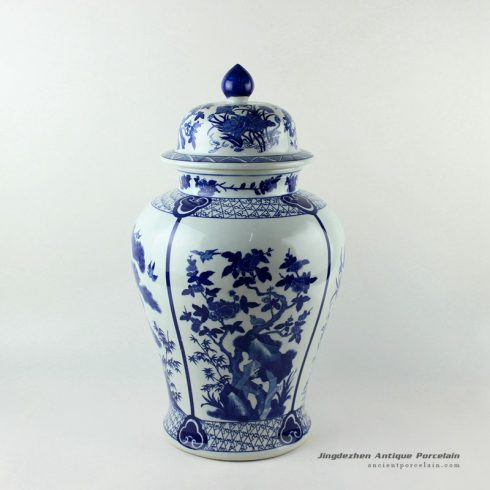 RYJF59_20.5inch Blue flower bird Porcelain Temple Jar
