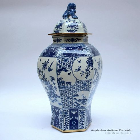 RYJF63-B_Blue and white ceramic oriental jar with lion knob