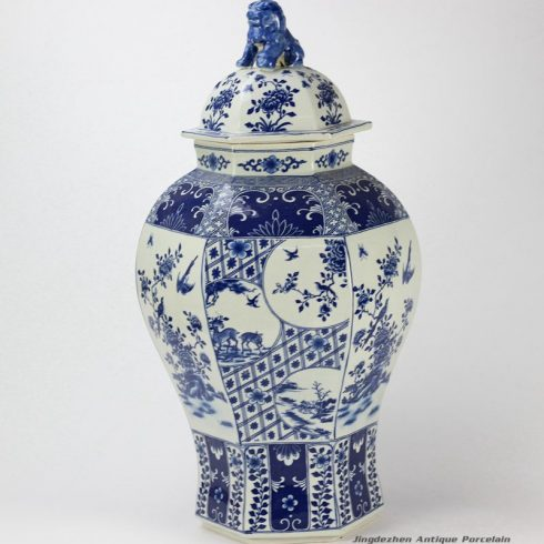 RYJF63_Blue and white ceramic oriental jar with lion knob