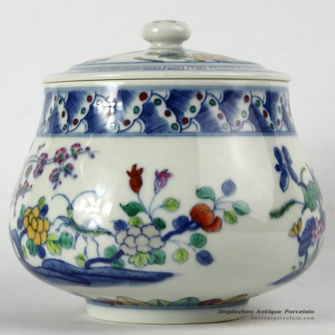 RYJH08_ Jindezhen Porcelain Tea jars, Hand painted floral design
