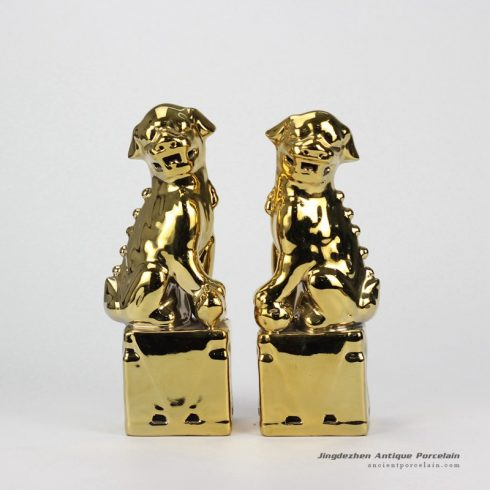RYJZ16_Pair of Gold Foo Dog Statue