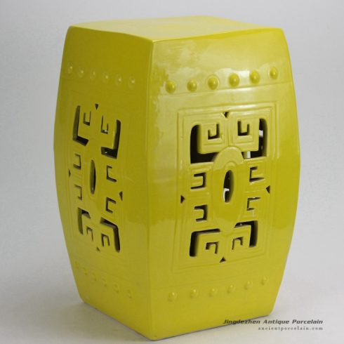 RYKB118-A_Yellow Carved Square Ceramic Garden Stool