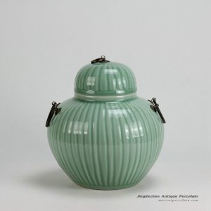 RYKB122-A_H10″ Ceramic Bamboo design Celadon Green Jars with Metal Ring Lid