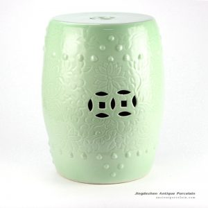 RYKB137-B_H17″ Celadon Engraved Floral Cearmic Round Garden Stool