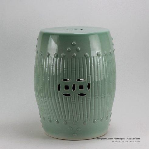 RYKB88-A_17″ Celadon Bamboo design Ceramic Garden Stool