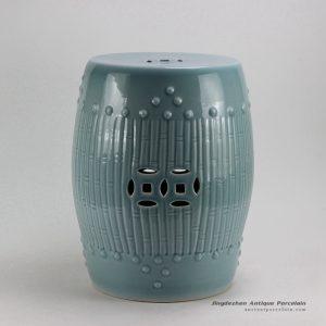 RYKB88-B_17inch Celadon Blue Bamboo design Ceramic Garden Stool