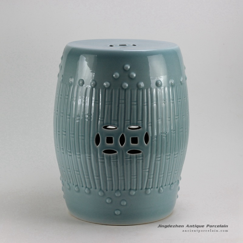 Phenomenal Rykb88 B 17Inch Celadon Blue Bamboo Design Ceramic Garden Unemploymentrelief Wooden Chair Designs For Living Room Unemploymentrelieforg