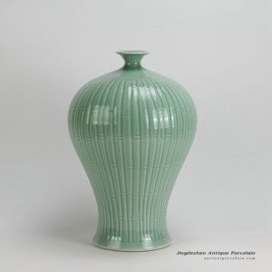 RYKB99-A_16″ Bamboo design Celadon green Meipin VaseRYKB99-A_16″ Bamboo design Celadon green Meipin Vase