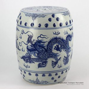 RYLL40_Chinese dragon pattern blue and white ceramic barrel stool