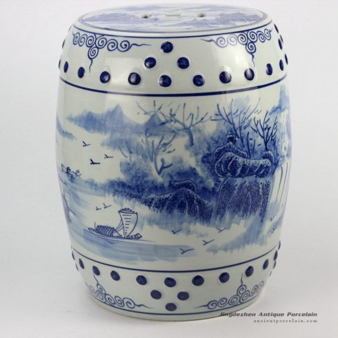 RYLL41_River side boat pattern blue and white chinese porcelain stool