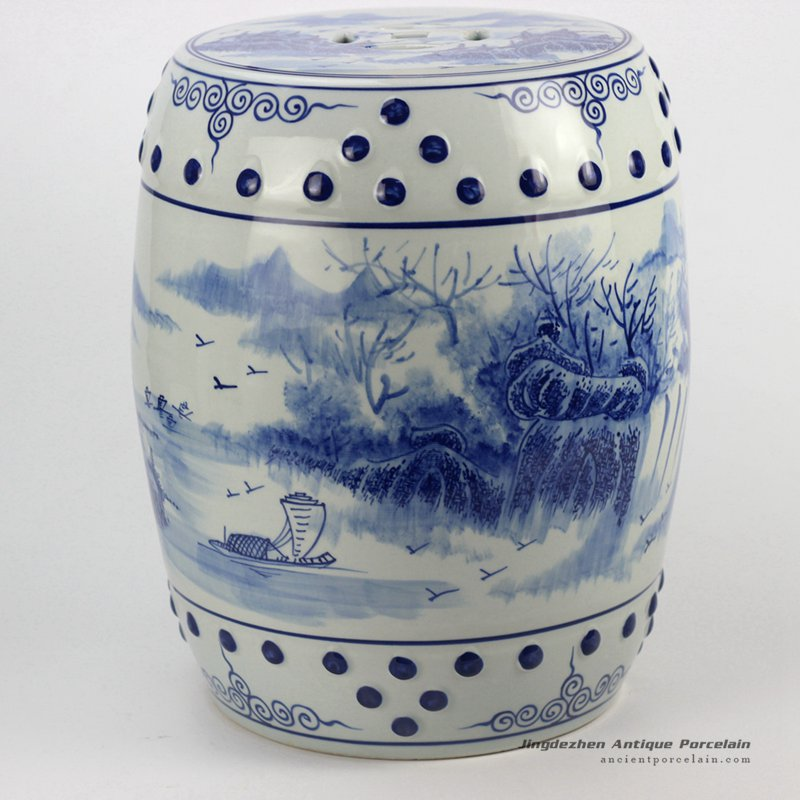 Ryll41 River Side Boat Pattern Blue And White Chinese