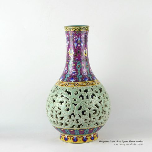 RYLW14_17inch High quality reproduction hand painted hand carved Qing dynasty reproduction Porcelain Vase
