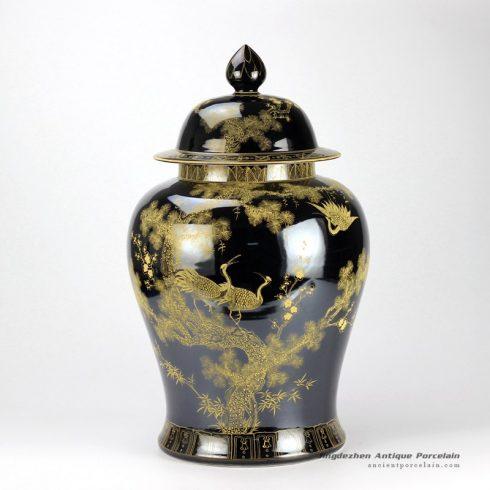 RYLW15_Mirror black glazed gold gilded crane hand paint porcelain large ginger jar