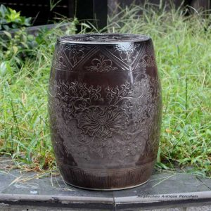 RYMA93-A/B/E_Solid color engraved porcelain oriental garden seat