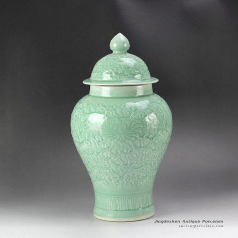 RYMA97_16inch Ceramic Carved Floral Celadon Ginger Jar