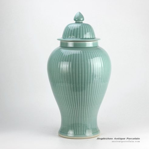 RYMA99_H23inch Bamboo design Celadon Ceramic Ginger Jar
