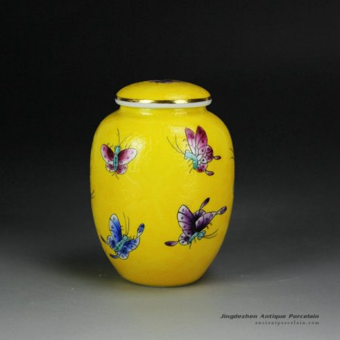 RYMY23_Needle painting famille rose colorful butterfly small ceramic tea caddy for internet sale
