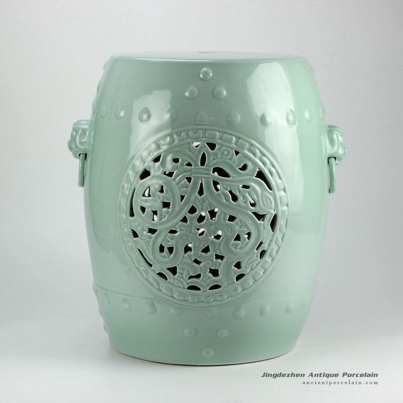 Amazing Rynq177 H18Inch Mint Green Hand Flower Carved Ceramic Garden Unemploymentrelief Wooden Chair Designs For Living Room Unemploymentrelieforg