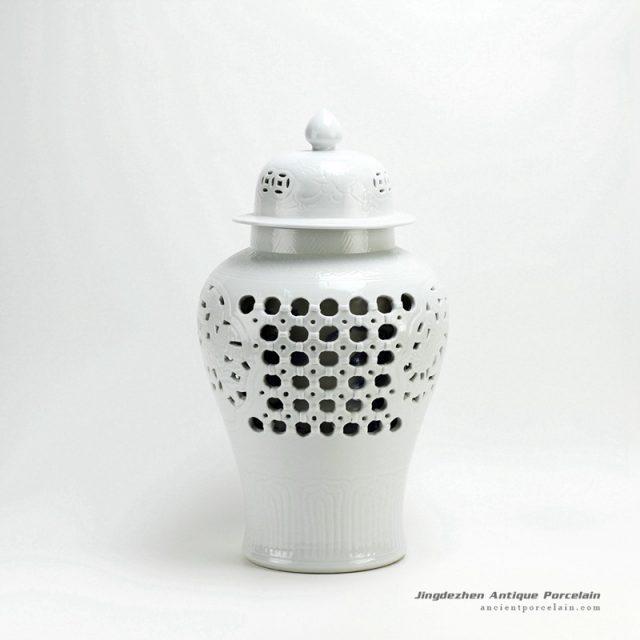 RYNQ18_Hollow out white solid color glazed ceramic porcelain ginger jar