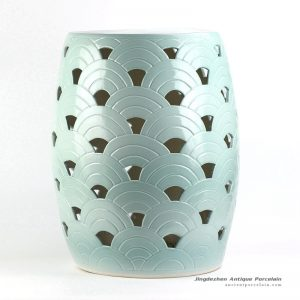 RYNQ193_Hot sale mint green ocean feeling scale engraved pattern pierced bathroom unique ceramic stool