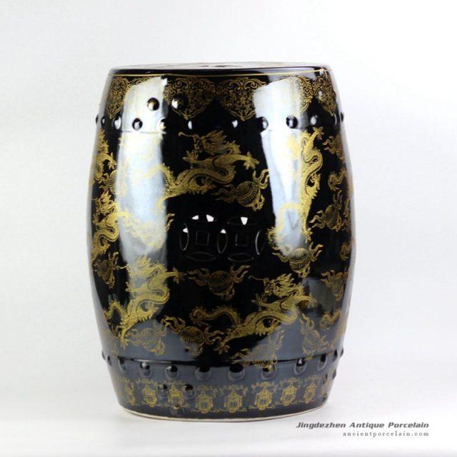RYNQ194_Large stool in black mirror glaze golden fire dragon pattern porcelain drum stool