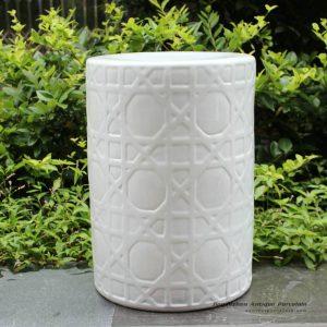 RYNQ58_16.5″ Carved white Ceramic Stool side table