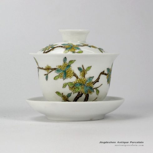 RYNY24-B_Hand Painted fragrans pattern Tea Gaiwan