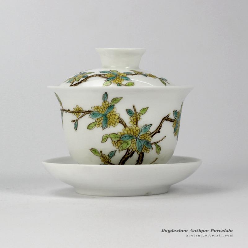 RYNY24-B_Hand Painted fragrans pattern Tea Gaiwan